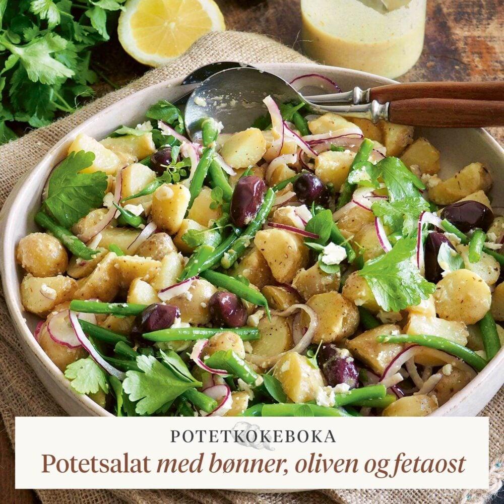 Potetkokeboka – Potetsalat med bønner, oliven og fetaost