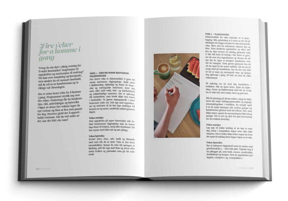 Oppslag frå Opptur med sunn mat av Linda Stuhaug